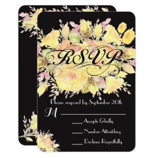 Cartes les épousant roses de l'aquarelle jaune carton d'invitation 8,89 cm x 12,70 cm