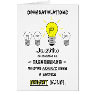 Cartes Les félicitations électricien, avenir est