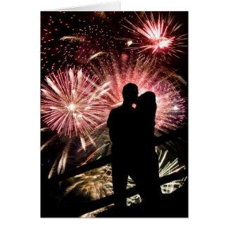Cartes Les feux d'artifice couplent embrasser la
