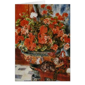 Cartes Les fleurs et les chats de Renoir