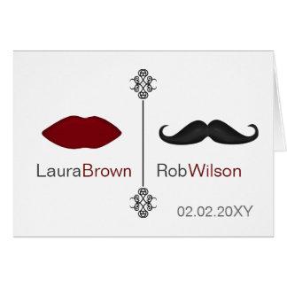 Cartes les lèvres et le mariage de mod de moustache vous