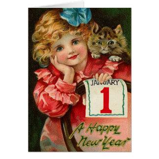 Cartes Les salutations vintages de nouvelle année