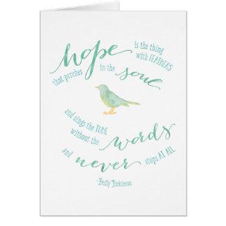 Cartes L'espoir est la chose avec la citation de plumes