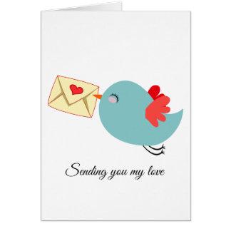Cartes Lettre bleue Customizeable de l'oiseau W de vol
