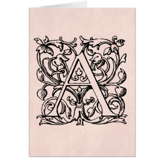 Cartes Lettre vintage un rose rose décoré d'un monogramme