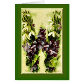 Cartes Lettre violette bleue W d'alphabet de fleur de