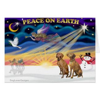 Cartes Lever de soleil de Noël - deux Vizslas
