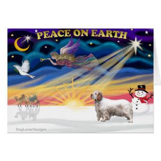 Cartes Lever de soleil de Noël - épagneul de Clumber