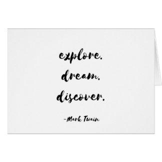 Cartes L'explorez. Rêve. Découvrez. - Mark Twain