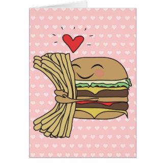 Cartes L'hamburger aime des fritures