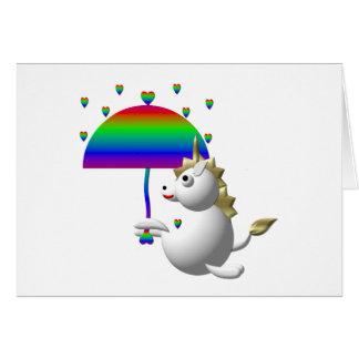 Cartes Licorne mignonne avec un parapluie