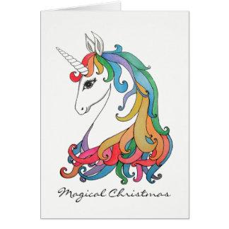 Cartes Licorne mignonne d'arc-en-ciel d'aquarelle