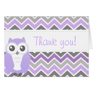 Cartes Lilas Chevron de note de Merci de baby shower de