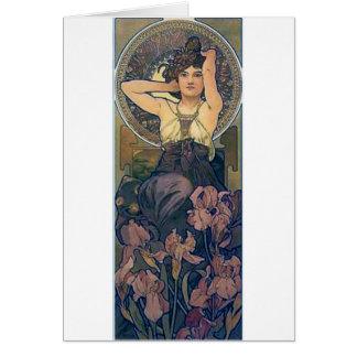Cartes L'iris de Mucha fleurit l'art déco de femme