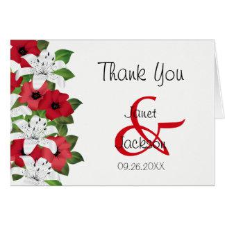 Cartes Lis rouges et blancs de canneberge - Merci
