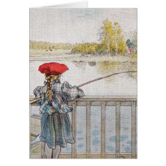Cartes Lisbeth une pêche de petite fille par Carl Larsson
