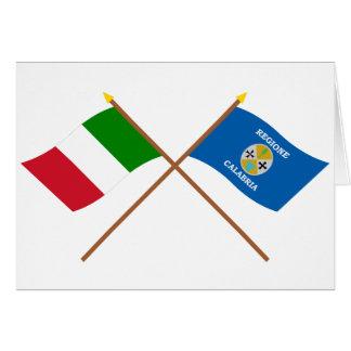 Cartes L'Italie et les drapeaux croisés par Calabre