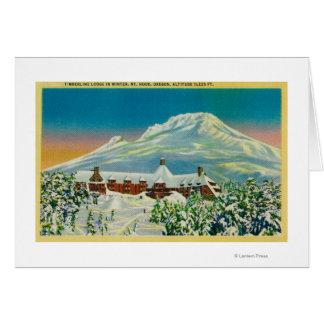 Cartes Loge de Timberline en hiver au capot de Mt.