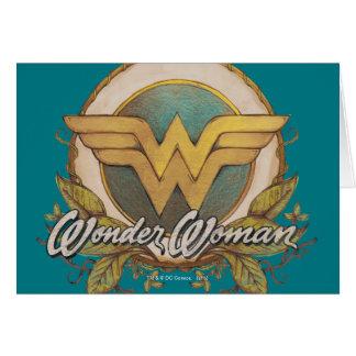 Cartes Logo de croquis de feuillage de femme de merveille