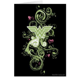 Cartes Logo de remous de vert de femme de merveille