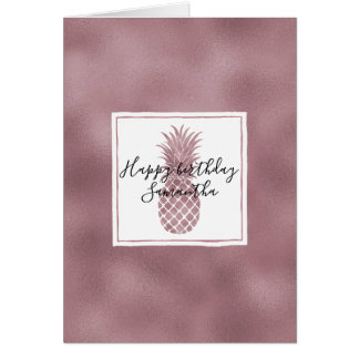 Cartes L'or rose pointille l'anniversaire d'ananas