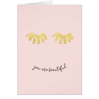 Cartes L'or rougissent des cils fascinants roses