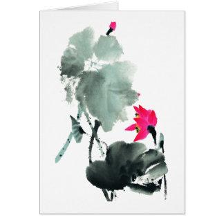Cartes Lotus/Chinois balayent l'art de peinture/carte