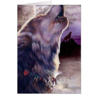 Cartes Loup hurlant à la lune