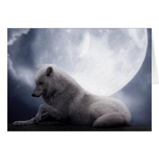 Cartes Loup impressionnant et loup blanc de lune