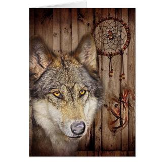 Cartes Loup indien indigène de receveur rêveur occidental