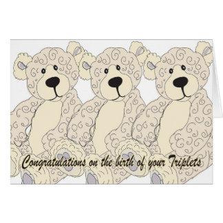 Cartes L'ours de nounours de félicitations de triplets