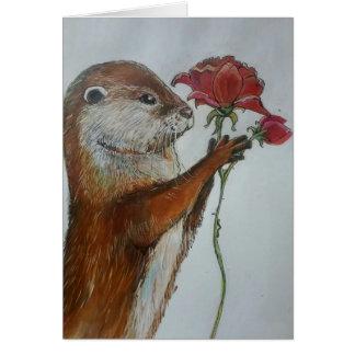 Cartes Loutre d'illustration tenant un rose rouge simple