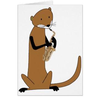 Cartes Loutre jouant le saxophone