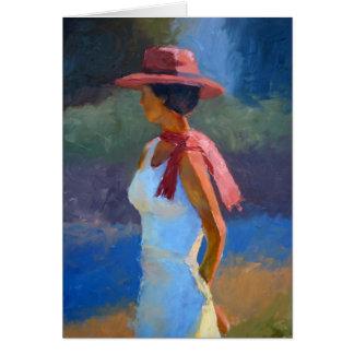 Cartes Lumière du soleil sur la dame dans le casquette