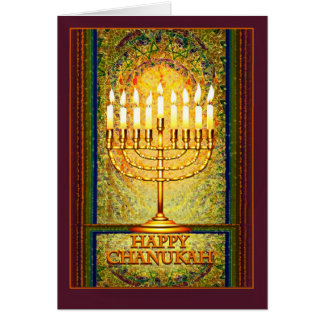 Cartes Lumières de Chanukah, Menorah dans la fenêtre en