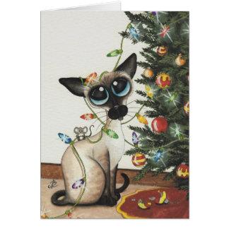 Cartes Lumières de Noël de chat siamois par AmyLyn Bihrle