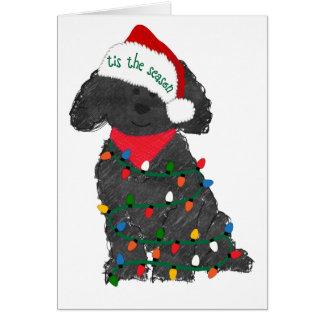 Cartes Lumières de Noël personnalisées Labradoodle