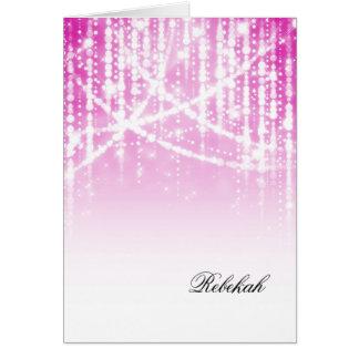 Cartes Lumières scintillantes roses de bat mitzvah