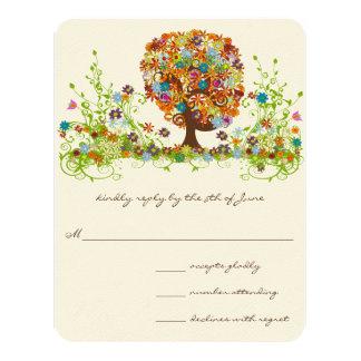 Cartes lunatiques de réponse de mariage d'arbre de carton d'invitation 10,79 cm x 13,97 cm