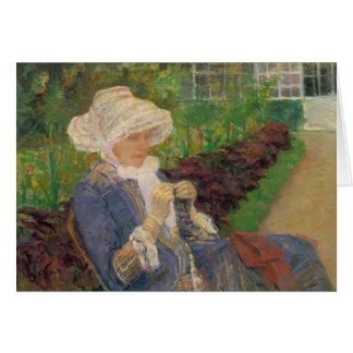 Cartes Lydia faisant du crochet dans le jardin de
