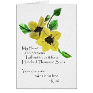 Cartes Ma salutation d'aquarelle de Rumi de coeur