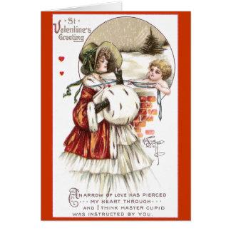 Cartes Madame avec le manchon et le cupidon