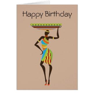 Cartes Madame tribale africaine avec l'anniversaire de