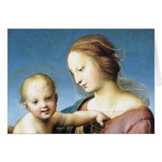 Cartes Madonna et enfant du Christ s'asseyant dehors