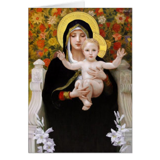 Cartes Madonna et enfant + Lis blancs