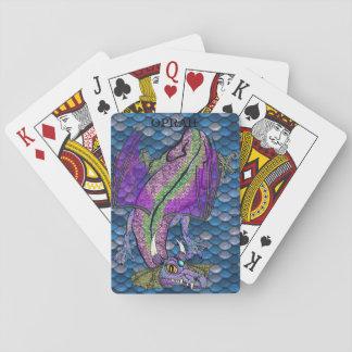 Cartes magiques personnalisées de dragon d'échelle jeux de cartes