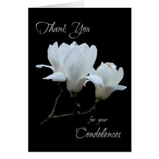 Cartes Magnolias de blanc de condoléances de Merci