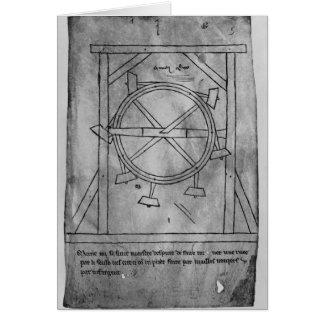 Cartes Maillets et roue de mouvement censément perpétuel