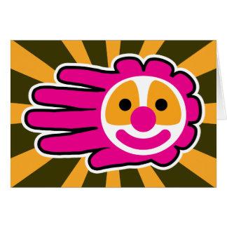 Cartes Main rose de visage de clown de cheveux