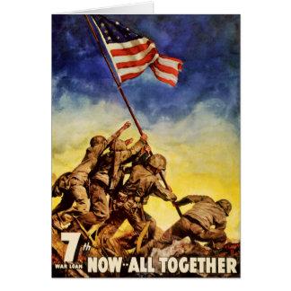 Cartes Maintenant tout ensemble affiche vintage de guerre